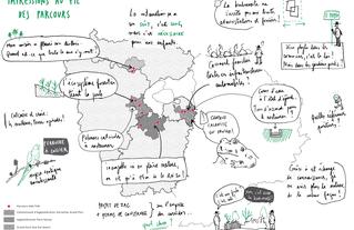 Carte sensible restituant les 10 parcours de l'AMI