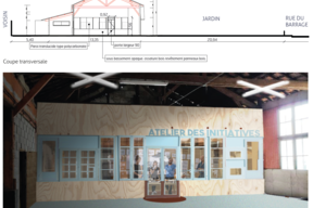 Une coupe transversale et un espace de travail provisoire au sein même du site , pour découvrir, comprendre, se projeter et prototyper.